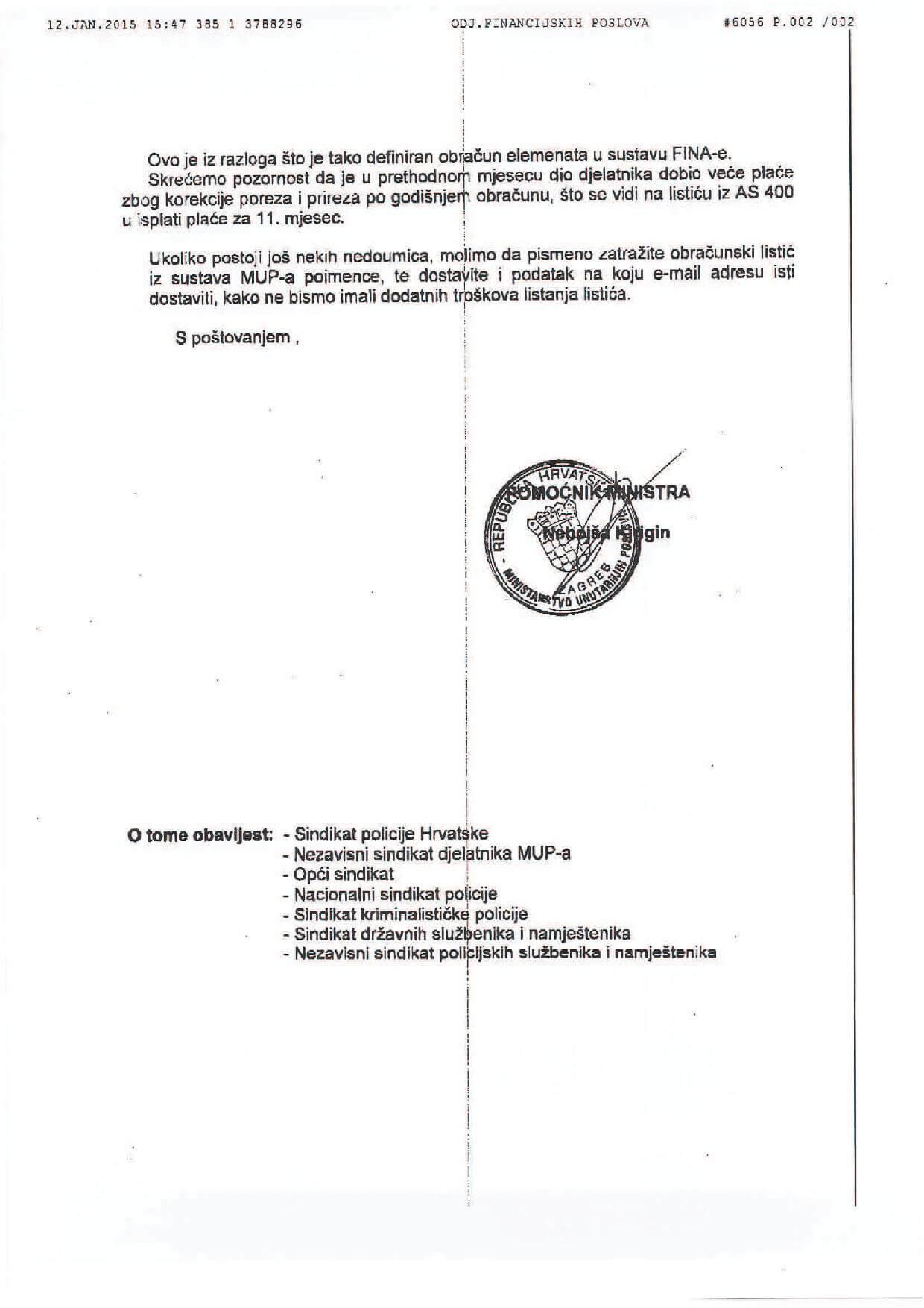 MUP-UPRAVA ZA MATRIJALNO FINANCIJSKE POLSOVE - OBAVIJEST OBRACUN PLACE KROZ COP1